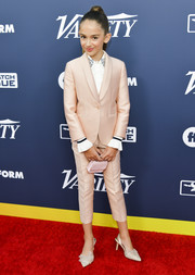 Julia Butters styled her suit with a pair of embellished slingbacks.