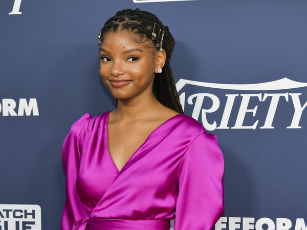 More Pics of Halle Bailey Evening Sandals (1 of 8) - Halle Bailey Lookbook - StyleBistro [hair,hairstyle,electric blue,premiere,carpet,croydon facelift,lace wig,variety,power of young hollywood,power of young hollywood,los angeles,the h club,california,halle bailey]