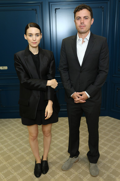 As if Rooney Mara didn't look cool and modern enough, she opted for an all-black look with this structured black blazer paired over a blouse and dress shorts.