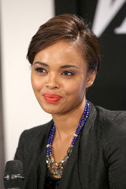 Sharon Leal dressed up her ensemble with a chic multi-beaded necklace when she visited the Variety Studio.