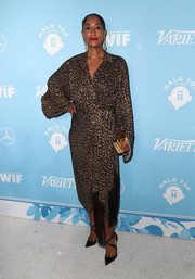 Tracee Ellis Ross looked quite the diva in a leopard-print wrap dress by Michael Kors at the Variety and Women in Film pre-Emmy celebration.