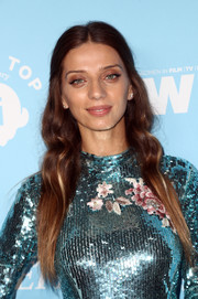 Angela Sarafyan attended the Variety and Women in Film pre-Emmy celebration wearing her hair in boho waves.