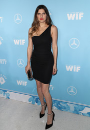 Lake Bell polished off her look with a pair of black pearl-strap pumps by Stella Luna.