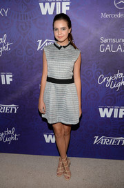 A pair of nude BCBGeneration gladiator heels added a touch of sexiness to Bailee Madison's getup.