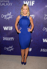 Carrie Keagan looked very curvy in a figure-hugging cobalt dress with sexy lace panels during the Variety and Women in Film Emmy nominee celebration.