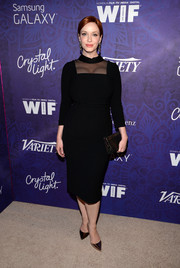 Christina Hendricks was all about classic elegance in a long-sleeve, sheer-panel LBD at the Variety and Women in Film Emmy nominee celebration.