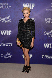 Peyton List teamed her dress with edgy-glam black cutout booties by Aquazurra.