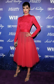 Krysten Ritter looked like a ballerina in this hot pink dress with a sheer tulle skirt.
