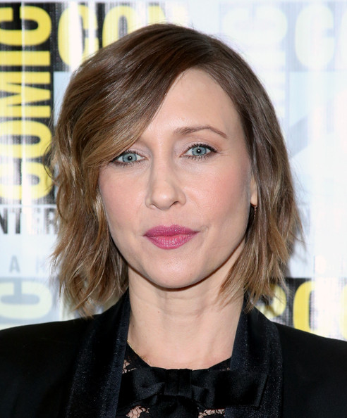Vera Farmiga Short Wavy Cut [bates motel press line - comic-con international,hair,face,hairstyle,blond,lip,eyebrow,chin,beauty,layered hair,hair coloring,vera farmiga,press line,bates motel,san diego,california,hilton bayfront,comic-con international 2014]