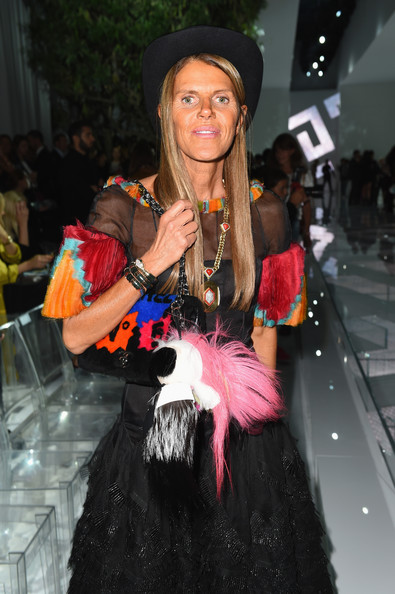 Anna dello Russo teamed a colorful Chanel fur purse with her gown when she attended the Versace fashion show.