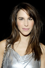 Caroline Sieber wore her long tresses straight and with side-swept bangs at the Versace for H&M fashion event.