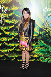 Wendy Lam paired her animal-print frock with strappy studded sandals.