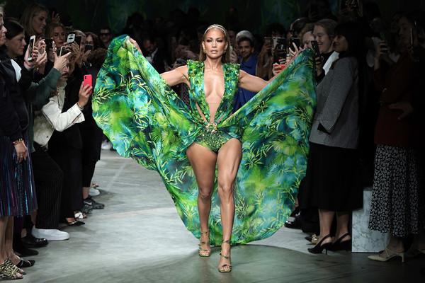 Jennifer Lopez made an appearance at the Versace Spring 2020 show wearing a replica of her iconic green gown from the 2000 Grammys.