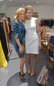 Sarah Chalked chose a crisp white sleeveless dress for her look at a charity luncheon in Beverly Hills.