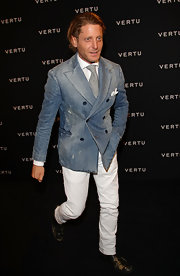 Lapo Elkann's washed-out denim blazer was a clever finish to his ensemble at the Vertu global launch of the Constellation.