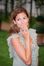 Eva showed off a stunning ring while hitting the 'Very Bad Cops' photo call in Paris.