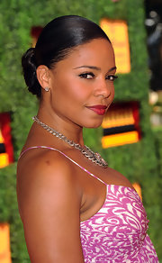 Sanaa Lathan looked gorgeous at the Veuve Clicquot Polo Classic with her hair pulled tightly back and worked into a pretty bobby-pinned updo.