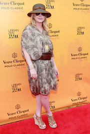 Kathy Hilton looked ready for summer in this loose print dress and strappy wedges.
