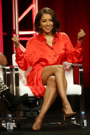 Kat Graham cut a stylish figure in a red satin shirtdress by Redemption at the Summer 2018 TCA Press Tour.