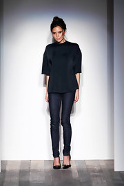 Victoria Beckham kept her Fashion Week look simple with classic skinny jeans at a presentation for her own clothing line.
