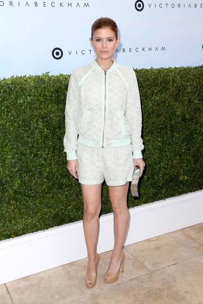 More Pics of Kate Mara Bomber Jacket (4 of 7) - Outerwear Lookbook - StyleBistro [clothing,white,fashion,outerwear,shorts,suit,fashion show,blazer,footwear,street fashion,victoria beckham,kate mara,los angeles,california,target,launch event,target launch event]