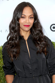 Zoe Saldana showed off a gorgeous curly hairstyle at the Victoria Beckham for Target launch.