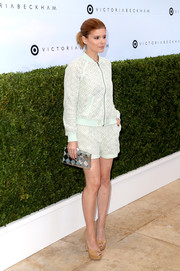 Kate Mara looked oh-so-cute in her matchy-matchy Victoria Beckham x Target shorts and jacket ensemble!