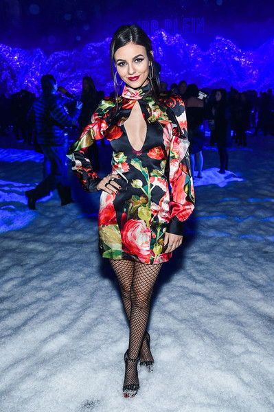 Victoria Justice Studded Heels [fashion model,fashion show,runway,fashion,catwalk,model,fashion design,haute couture,costume,kate upton,hosts,victoria justice,maya jama,front row,front row,new york,borough,maybelline,the phillipp plein fw18 show]