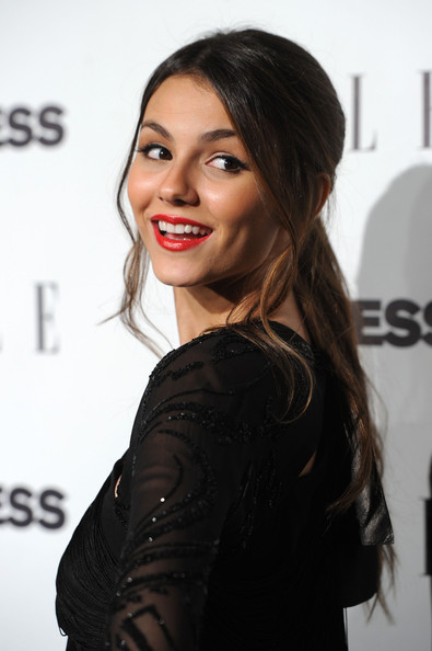 Victoria Justice Ponytail [hair,face,hairstyle,eyebrow,beauty,long hair,lip,brown hair,shoulder,skin,victoria justice,event - arrivals,west hollywood,california,palihouse holloway,elle,event]