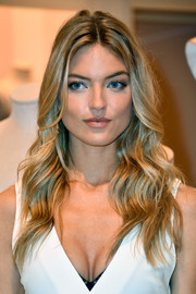 Martha Hunt looked gorgeous with her face-framing waves at the new Body by Victoria collection launch.