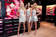 Lindsay Ellingson wore a strapless silver dress to the Victoria's Secret Valentine's Day event.