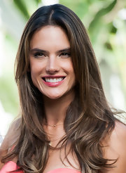 Alessandra Ambrosio's long layers were a casual, low-maintenance 'do for the supermodel during a press event.