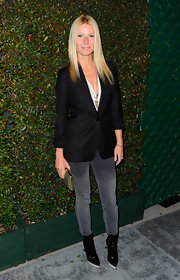 Gwyneth Paltrow headed out to friend Stella McCartney's 'My Valentine' event wearing a pair of pointed black ankle boots featuring white soles.