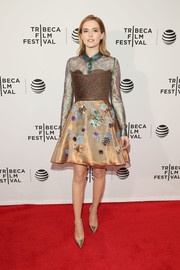Zoey Deutch rocked a mixed-materical metallic cocktail dress by Delpozo at the Tribeca Film Fest premiere of 'Vincent N Roxxy.'