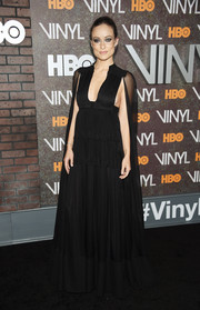 Olivia Wilde donned a dramatic caped empire gown by Valentino for the New York premiere of 'Vinyl.'