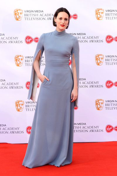 Phoebe Waller-Bridge looked regal in a slate-blue split-sleeve gown by A. Teodoro at the 2019 Virgin Media British Academy Television Awards.
