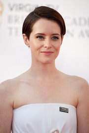 Claire Foy sported a short, neat side-parted 'do at the Virgin TV BAFTA Television Awards.