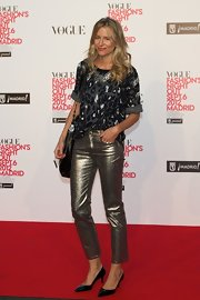 Maria Leon wore a pair of fashion-forward cropped metallic pants to Vogue's Fashion's Night Out in Madrid.