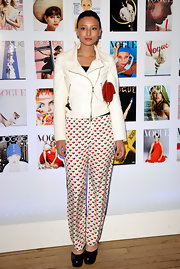 Leah Weller got playful in these silky print pants at the Vogue Festival cocktail party.