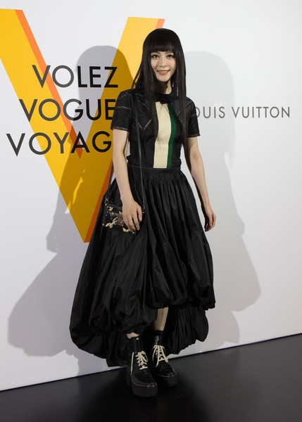 Fan Bingbing looked zany in this Louis Vuitton bubble-hem dress during the 'Volez, Voguez, Voyagez' exhibition.