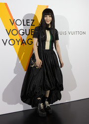 Fan Bingbing chose a pair mega-chunky lace-up boots to complete her look.