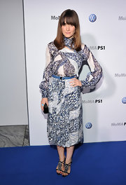 Rose Byrne teamed her silk print dress with ruffle-embellished Betsy sandals.