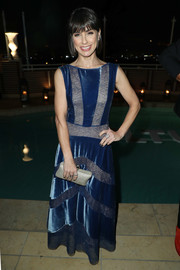 Constance Zimmer donned a blue lace and velvet gown for the Vulture awards season party.