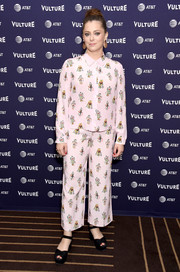 Rachel Bloom looked ready for bed in her robot-print pants at the Vulture Festival Los Angeles 2018.