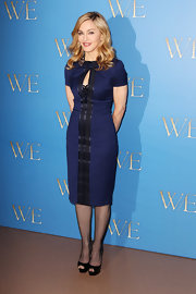 Madonna topped off her ladylike ensemble with black peep-toe platform pumps.