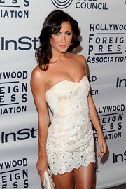 Jacqueline MacInnes Wood was sizzling hot at the TIFF party in her little white strapless dress.