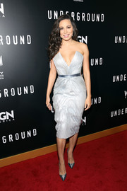 Jurnee Smollett-Bell looked ravishing in a strapless ice-blue dress by Rubin Singer at the premiere of 'Underground' season two.
