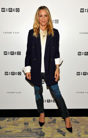 Maria Bello went for an edgy finish with a pair of patchwork jeans.