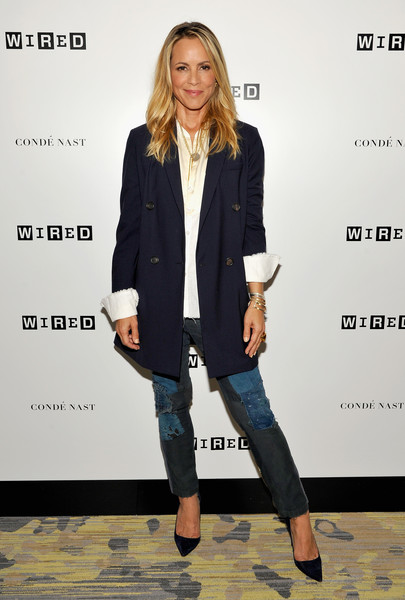 More Pics of Maria Bello Long Wavy Cut (1 of 12) - Maria Bello Lookbook - StyleBistro [maria bello,clothing,outerwear,fashion,blazer,jeans,footwear,street fashion,denim,electric blue,jacket,wired cafe at comic-con,wired cafe,san diego,california,omni hotell,comic-con international 2016]