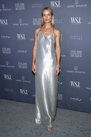 Carolyn Murphy went for high shine in a silver slip gown by Ralph Lauren at the 2018 Innovator Awards.
